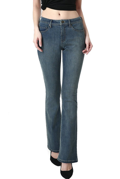 phistic Women's Ultra Stretch Medium Indigo Modern Bootcut Jeans
