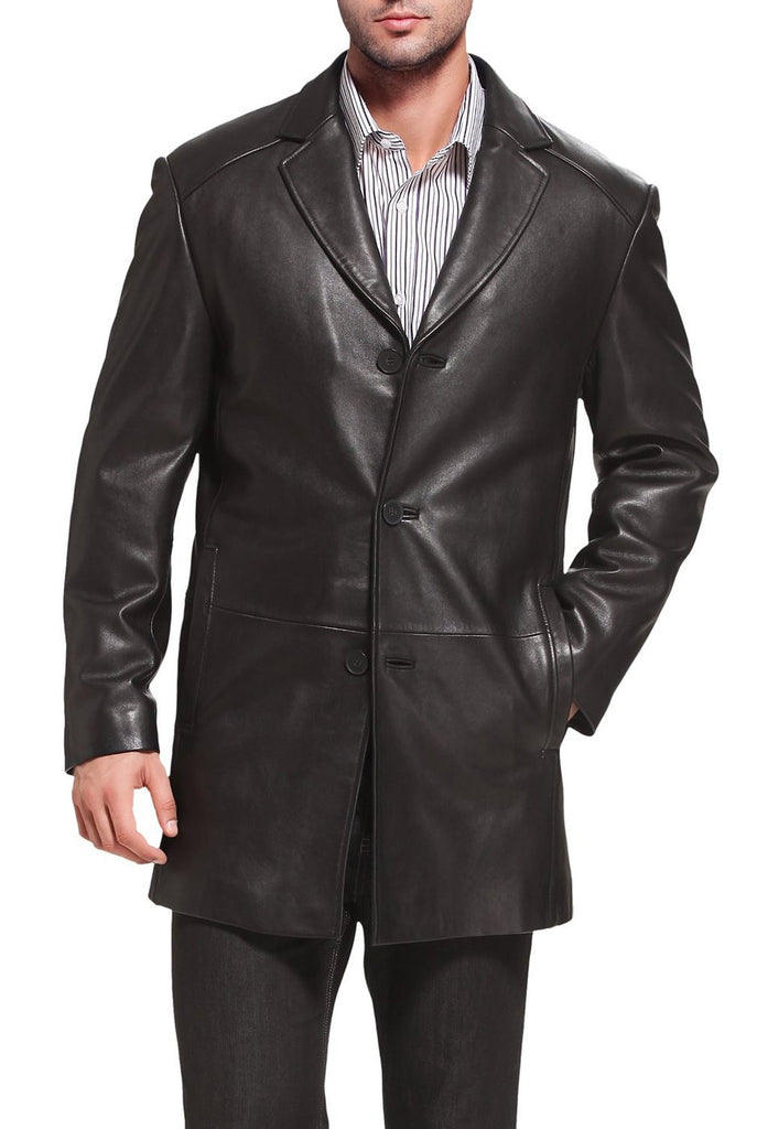 "BGSD Men's ""Carter"" Three-Button New Zealand Lambskin Car Coat"