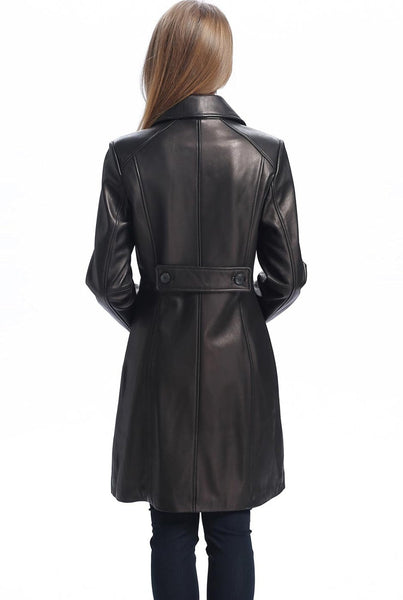 "BGSD Women's ""Amber"" New Zealand Lambskin Leather Walking Coat - Short"