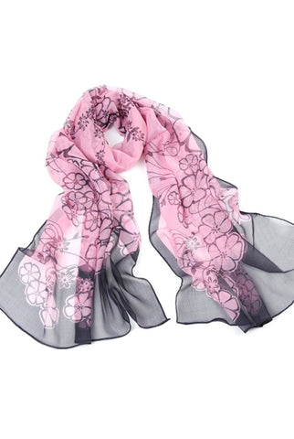 "Luxury Lane Women's ""Spring Blossoms"" Long Sheer Silk Wrap Scarf"