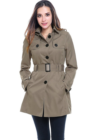 "BGSD Women's ""Celia"" Hooded Mid Length Trench Coat"