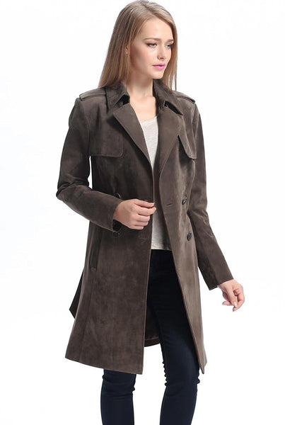 bgsd womens molly suede leather trench coat
