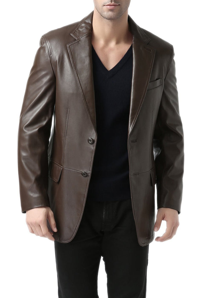 "BGSD Men's ""Grant"" Two-Button New Zealand Lambskin Leather Blazer - Tall"