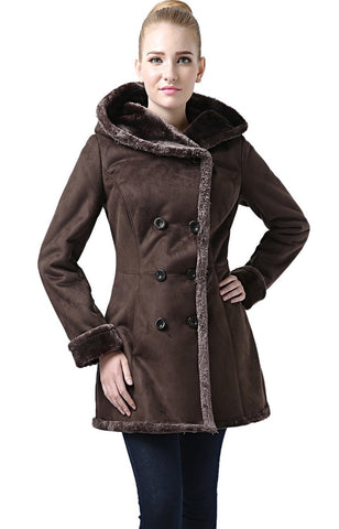 "BGSD Women's ""Cindy"" Hooded Faux Shearling Coat"