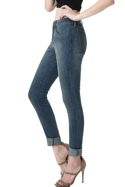 phistic Women's Ultra Stretch Medium Indigo Skinny Jeans