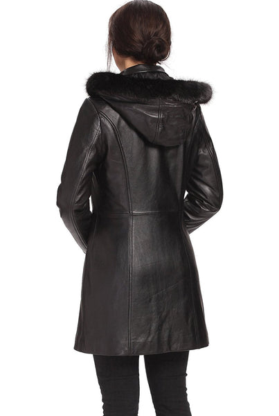 "BGSD Women's ""Irene"" New Zealand Lambskin Leather Parka Coat - Plus Short"
