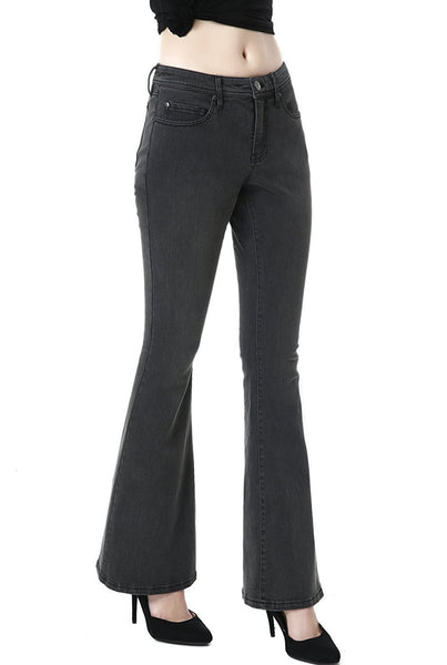 phistic Women's Ultra Stretch Gray Flare Jeans