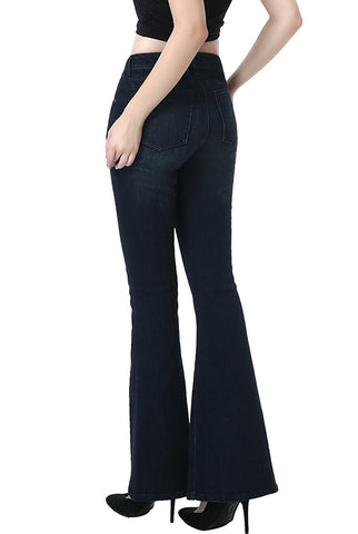 phistic Women's Ultra Stretch Dark Indigo Flare Jeans
