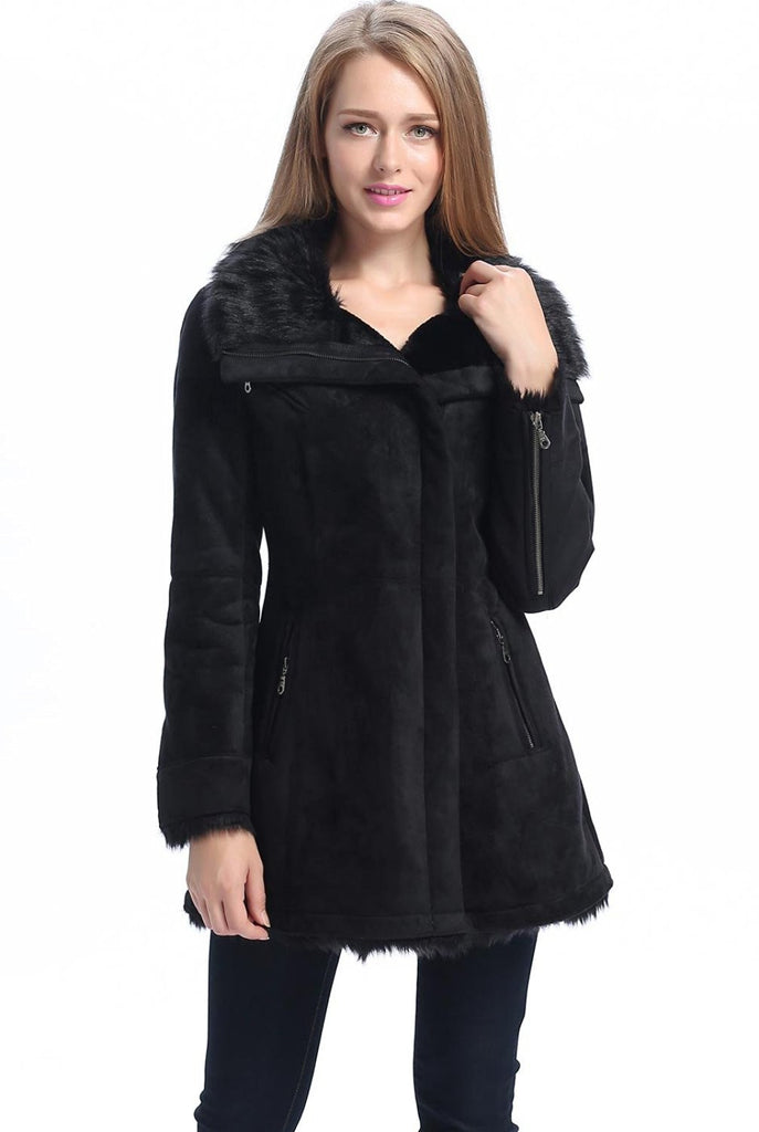 Black faux shearling coat with hood