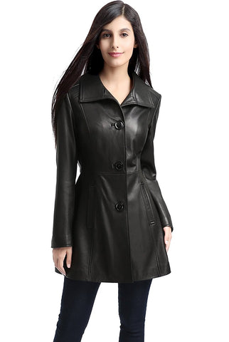 "BGSD Women's ""Belle"" New Zealand Lambskin Leather Walking Coat - Plus Short"