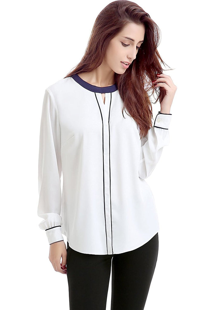 "Phistic Women's ""Meredith"" Colorblock Keyhole Blouse"