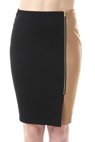 "Phistic Women's ""Maxwell"" Colorblock Zip Front Pencil Skirt"