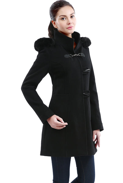 BGSD Women's 'Ryan' Wool Blend Hooded Melton Parka Coat