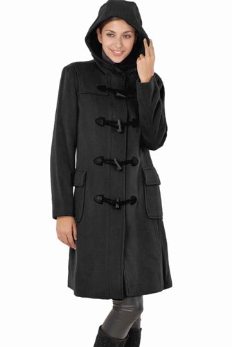 BGSD Womens Lisa Wool Blend Hooded Toggle Coat