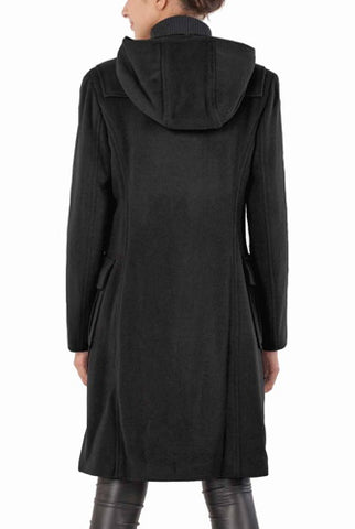 "BGSD Womens ""Lisa"" Wool Blend Hooded Toggle Coat - Plus"