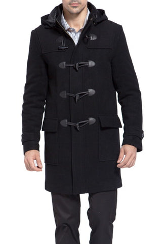 BGSD Men's 'Benjamin' Wool Blend Classic Duffle Coat - Big