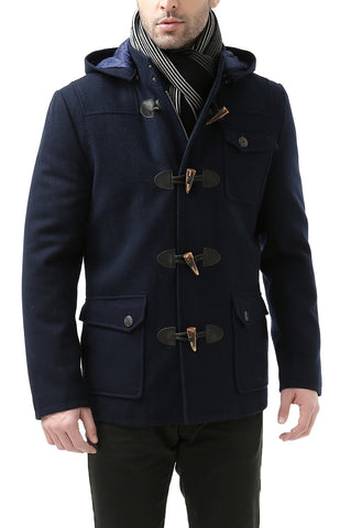 "BGSD Men's ""Nathan"" Wool Blend Patch Pocket Short Toggle Coat"