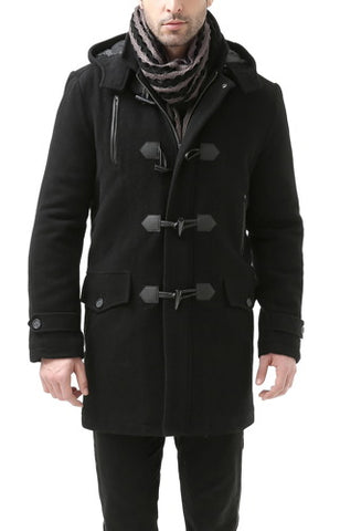 BGSD Men's 'Tyson' Wool Blend Leather Trimmed Toggle Coat - Big & Tall