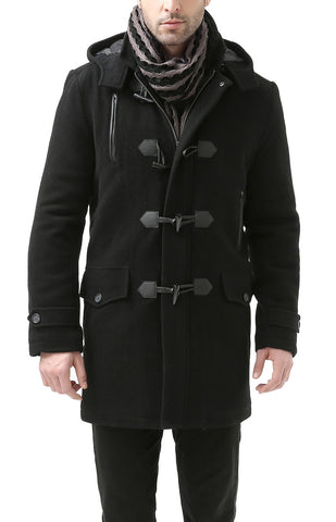 "BGSD Men's ""Tyson"" Wool Blend Leather Trimmed Toggle Coat"