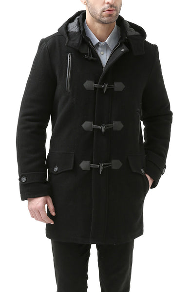 BGSD Men's 'Tyson' Wool Blend Leather Trimmed Toggle Coat