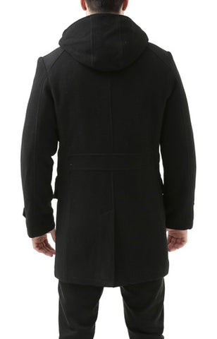 "BGSD Men's ""Tyson"" Wool Blend Leather Trimmed Toggle Coat - Tall"