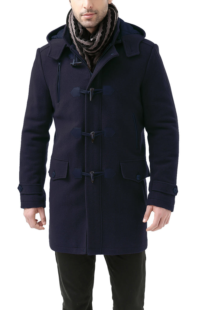 "BGSD Men's ""Tyson"" Wool Blend Leather Trimmed Toggle Coat - Big"