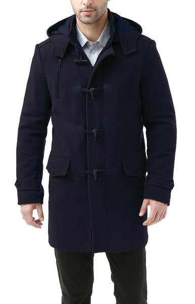 "BGSD Men's ""Tyson"" Wool Blend Leather Trimmed Toggle Coat - Big & Tall"