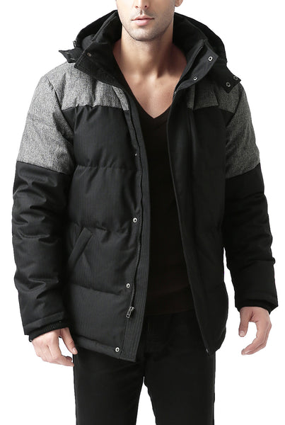 "BGSD Men's ""Ethan"" Hooded Waterproof Colorblock Down Jacket"