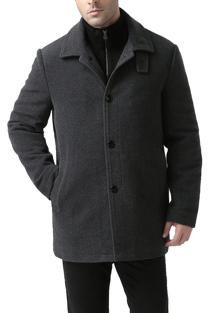 BGSD Men's 'Graham' Zip-Front Bib Wool Blend Car Coat