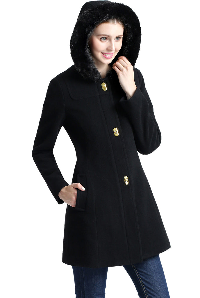 BGSD Women's 'Lana' Wool Blend Hooded Parka Coat