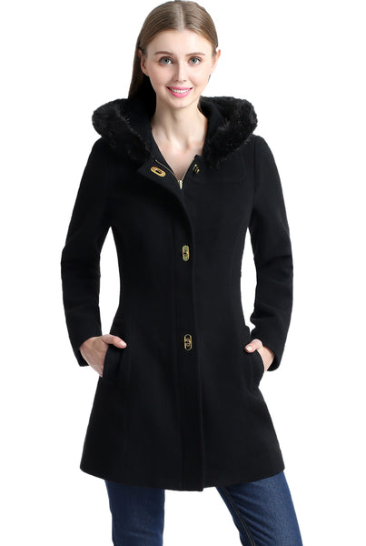 BGSD Women's 'Lana' Wool Blend Turn Key Hooded Parka Coat