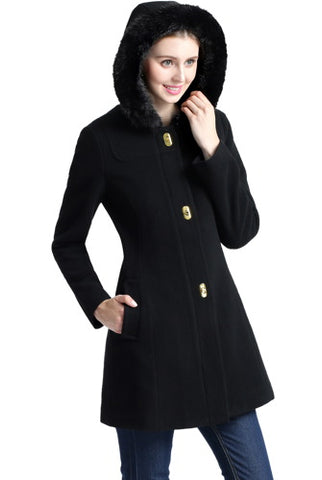 BGSD Women's 'Lana' Wool Blend Hooded Parka Coat - Short