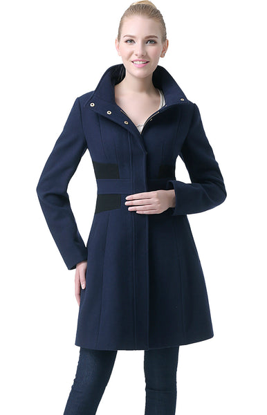 "BGSD Women's ""Prim"" Colorblock Wool Blend Walking Coat"