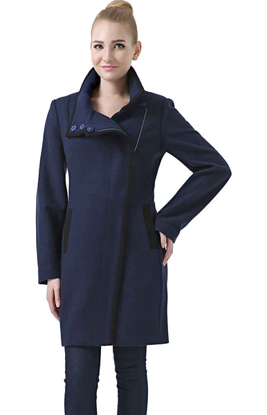 "BGSD Women's ""Audrey"" Colorblock Wool Blend Coat"