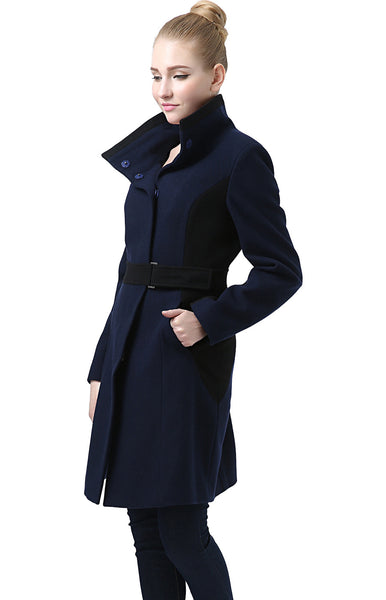 "BGSD Women's ""Scarlett"" Wool Blend Colorblock Over Coat"