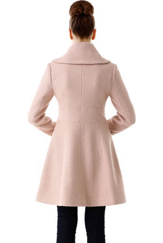 BGSD Women's Wool Blend Shawl Collar Walking Coat