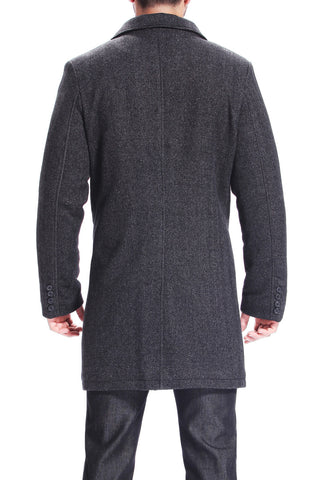 BGSD Men's 'Derek' Herringbone Wool Blend Bibbed Walking Coat