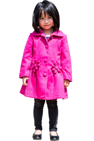 Widgeon Girls 2-6X Button Up Flower Fleece Coat