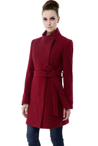 BGSD Women's 'Beth' Wool Blend Funnel Neck Tie Belt Coat