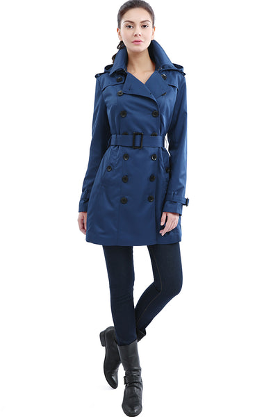 "BGSD Women's ""Madison"" Hooded Waterproof Mid Length Trench Coat"
