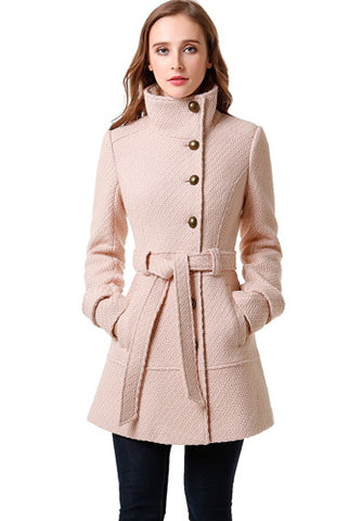 BGSD Women's Wool Blend Belted Walking Coat