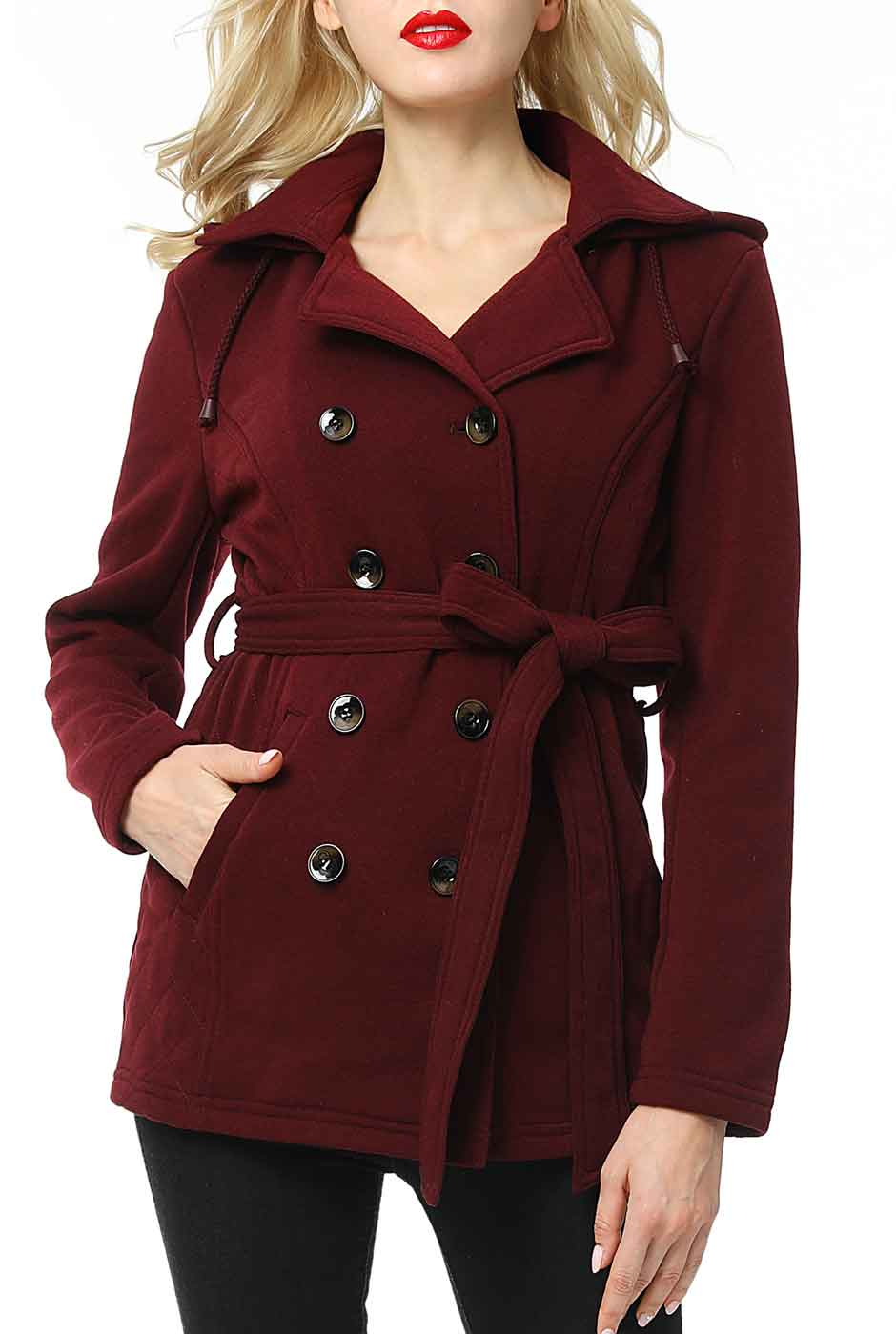BGSD Women's Belted Hooded Trench Coat