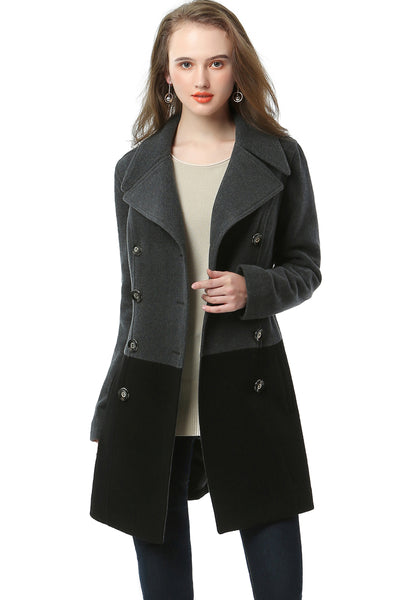 "BGSD Women's ""Riley"" Color Block Wool Blend Pea Coat"