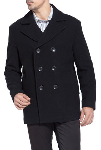 BGSD Men's 'Mark' Classic Wool Blend Pea Coat - Big & Tall