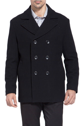 BGSD Men's 'Mark' Classic Wool Blend Pea Coat - Tall