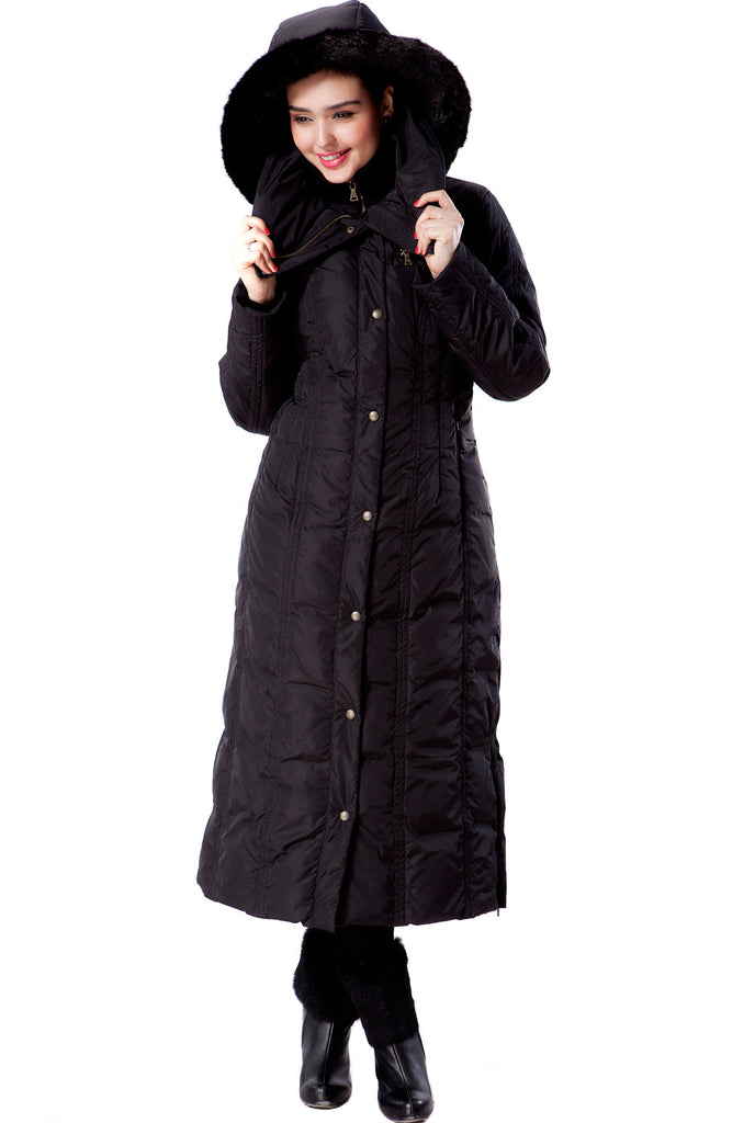 "Phistic Women's ""Lacey"" Long Hooded Puffer Down Coat"