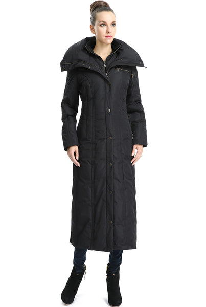 phistic womens lacey long hooded puffer down coat