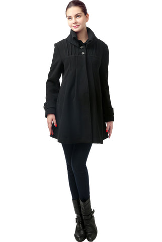"Kimi and Kai Maternity ""Jessa"" Wool Blend Pleated Swing Coat"