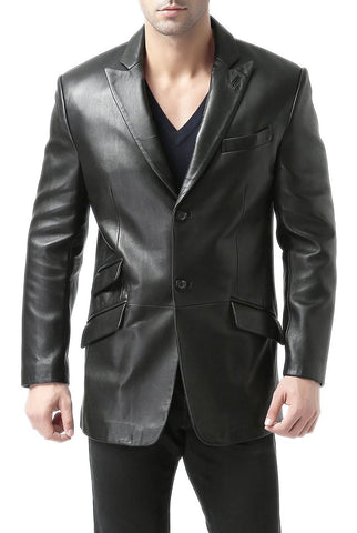 "BGSD Men's ""Noah"" Peaked-Lapel Lambskin Leather Blazer - Tall"