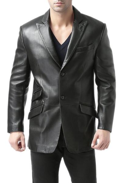 "BGSD Men's ""Noah"" Peaked-Lapel Lambskin Leather Blazer - Short"